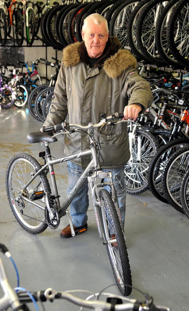 This Is Wiltshire: Bill Brown, who received a new bicycle from Swindon Cycles Superstore as part of our Christmas Wish Appeal in 2011
