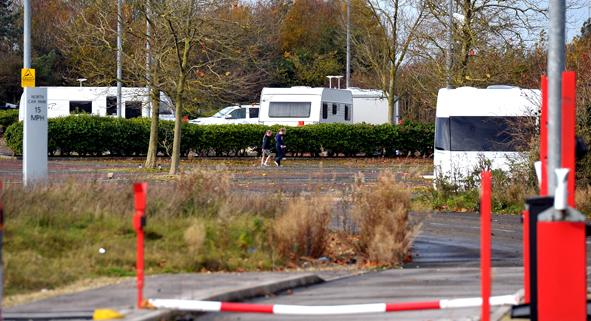This Is Wiltshire: Caravans set up in former Motorola car park