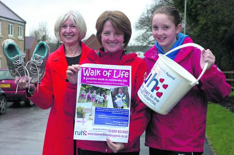 Raising money in memory of Vanessa Kyte, from left, Diane Young (Vanessa's Mum), Nicola Noble (Vanessa's sister) and  Alice Noble (Vanessa's niece), all taking part in the Walk of Life raising money for the RUH Forever Friends Appeal