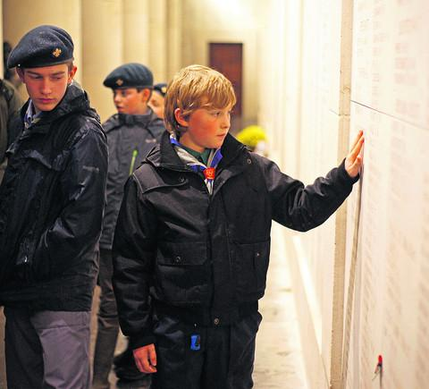 Scouts at the Menin Gate war memorial in Ypres