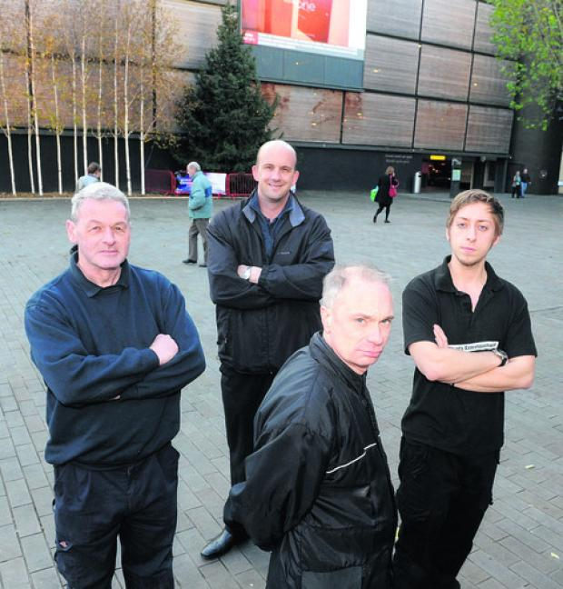 This Is Wiltshire: Front, Steve Hollister (Little Rocks Shop), back from left, Derek Butler (Blood on the Tracks), Nik Hayward and Ross Mulholland are unhappy the market is off