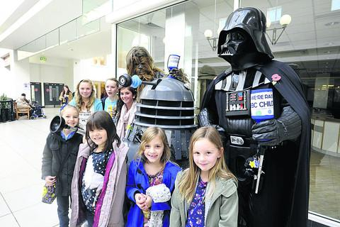 Corsham's Charity Sci-Fi Group and friends collecting in The Shires shopping centre