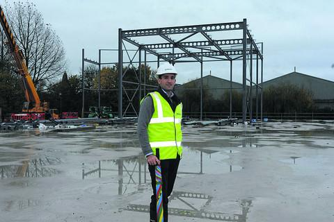 This Is Wiltshire: Legal and General senior asset manager Tim Russell check out progress on the emerging multi-screen cinema structure at the Trowbridge leisure site