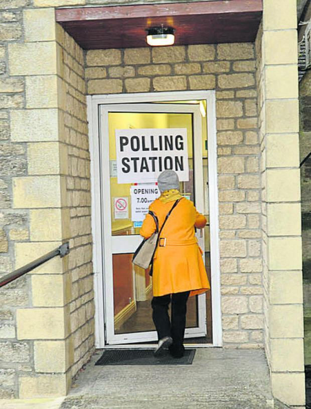 The polling station at St Thomas Church, Trowbridge, this morning
