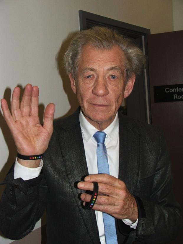 Sir Ian McKellen showing off his ZeeTee wristband
