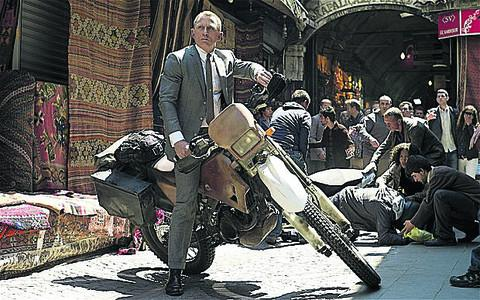 The modified Honda CRF250 motorbike the star rode in the Skyfall