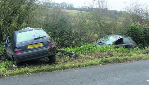 This Is Wiltshire: The two cars which crashed on the same stretch of road in separate incidents