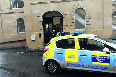 This Is Wiltshire: Police at the scene of the incident this morning