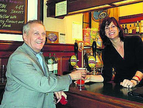 Claire Perry MP serves a pint of Devizes-brewed Wadworth Horizon in the Strangers' Bar, Westminster