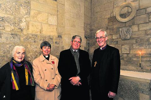 This Is Wiltshire: Bishop of Ramsbury the Rt Rev Edward Condry, with sculptor John Maine, the Rev Joanna Abecassis and Anna Tanfield, chairman of the trustees, at the dedication service for the new sculpture