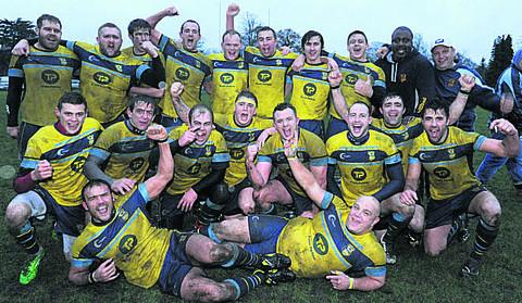 This Is Wiltshire: Trowbridge celebrate after winning the Dave Sullivan Memorial match at Devizes on Saturday