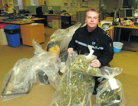 This Is Wiltshire: Sgt Phil Connor with the seized cannabis