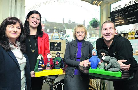 This Is Wiltshire: Nicole Vokins, Hannah Phillips, Sue Pearce and Richard Holman with the knitted Las Posadas figures