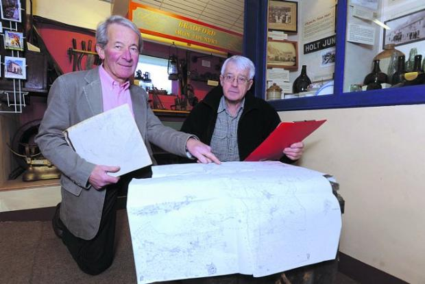 This Is Wiltshire: Mervyn Harris and Roy Canham from the museum consulting old maps in preparation for the project Photo: Trevor Porter  (41373)