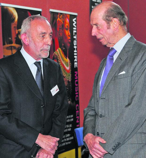 This Is Wiltshire: The Duke of Kent, right, chats to David Pratley, chairman Wiltshire Music Centre trustees