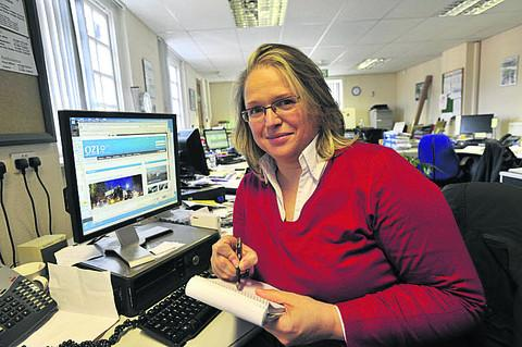 Heidi Janssen in the Wiltshire Times newsroom