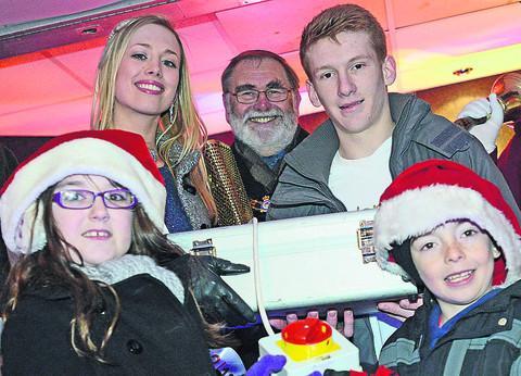 This Is Wiltshire: Ela Good, Ben Fox, Mayor Mike Leighfield and Jasmine and James turn on the lights