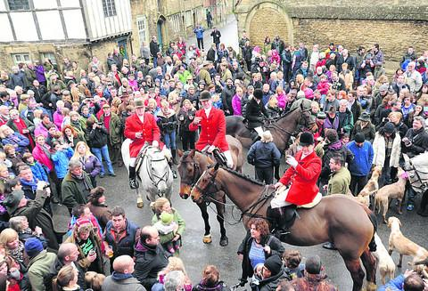 This Is Wiltshire: The Avon and Vale Hunt, led by new master Stuart Radbourne, in Lacock for the traditional Boxing Day meet