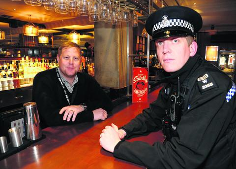 This Is Wiltshire: PubWatch vice chairman Danny Mason and Sgt Graham McLaughlin