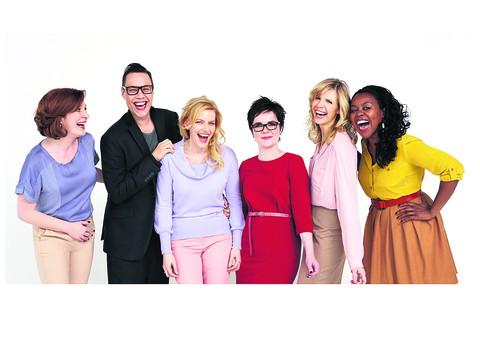 This Is Wiltshire: Elaine, left, and other actresses who are starring in the new Activia commercials alongside the company's brand ambassador, television presenter and cook Gok Wan