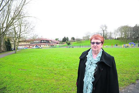 This Is Wiltshire: Coun Desna Allen near the proposed site for a skate park in Monkton Park