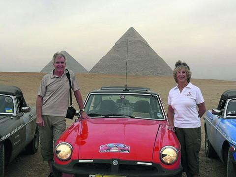 This Is Wiltshire: Nigel and Sue Fowler who took part in the Cape Town to Cairo rally in their MG