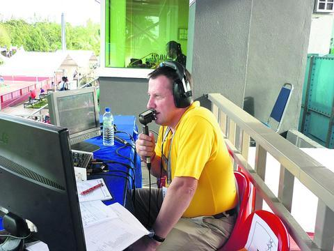 This Is Wiltshire: Ashley in the commentary box. He's equally at home on TV or radio
