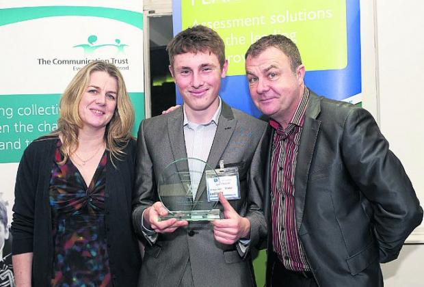 This Is Wiltshire: Community hero 18-year-old Jack Fradgley, centre, was named Young Person of the Year after judges heard how he learnt to cope with his stammer while helping other young people with si