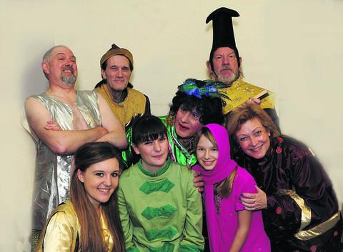 Pete Grant as the Widow Twankey with other Trowbridge Players in the cast of the popular pantomime Aladdin