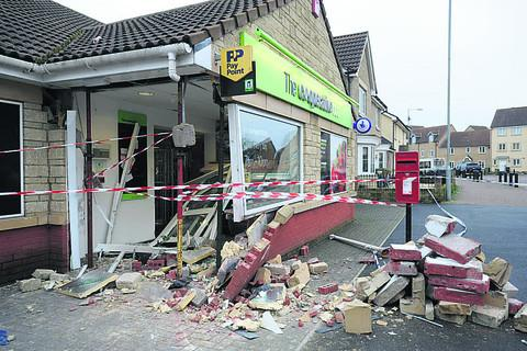 This Is Wiltshire: The damaged store after the attempted ram raid on the  Katherine Park estate