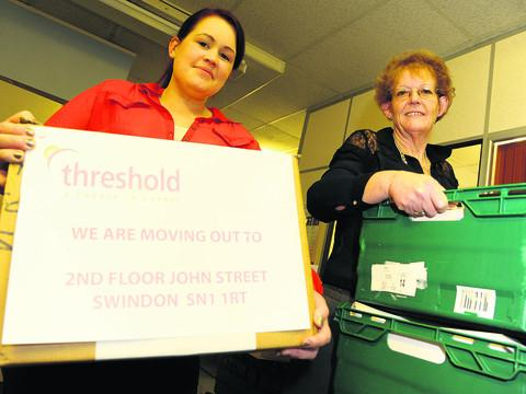 Maz Hyde and Lyn Cuss pack up at Threshold Housing Link