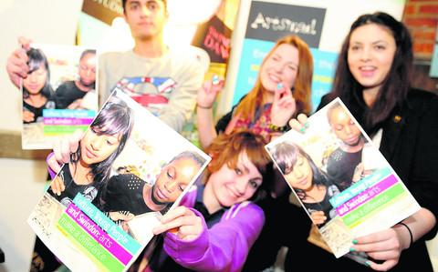 Launch of Artsmad, a magazine report on culture and arts for youngsters in Swindon. Back, from left, are Sammy Sangha, Mollie Tuttle and Simone Wilson and front is Devon Anscombe