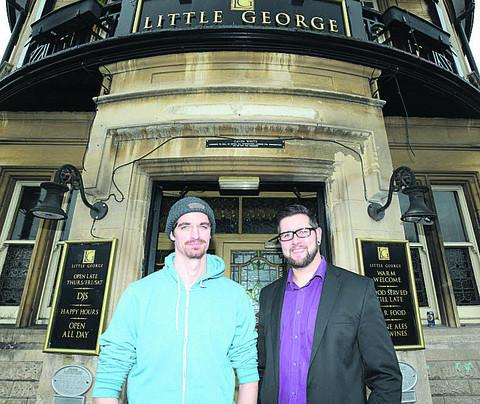 Steve Smith and Chris Bonsor outside the Little George, Chippenham