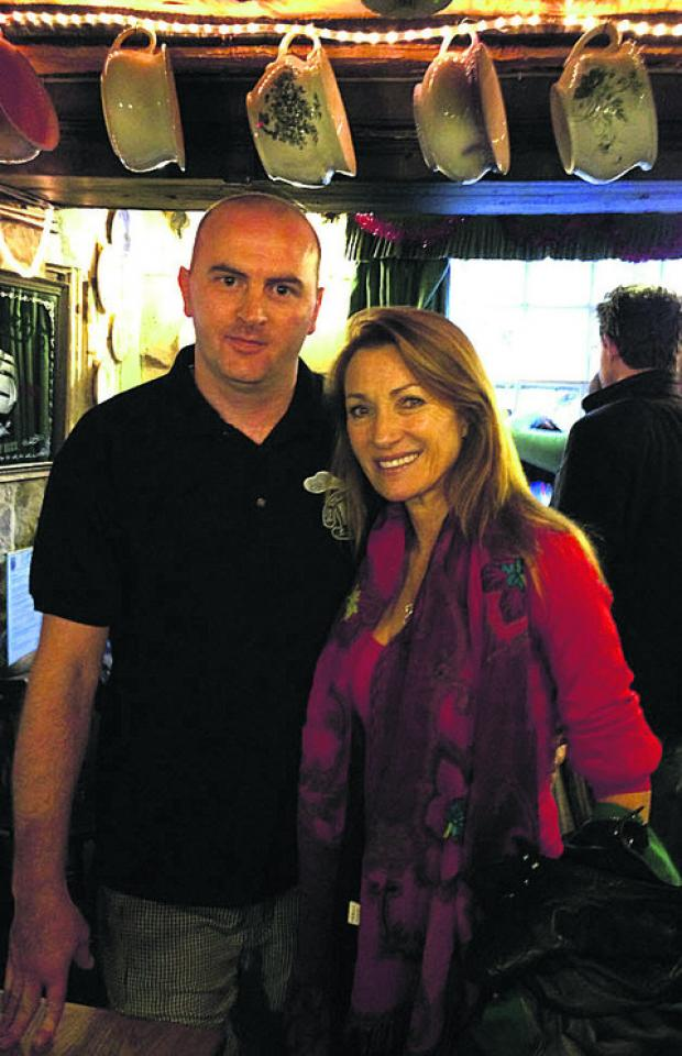 This Is Wiltshire: Neven Kasakliev, the pub's third chef, with Jane Seymour
