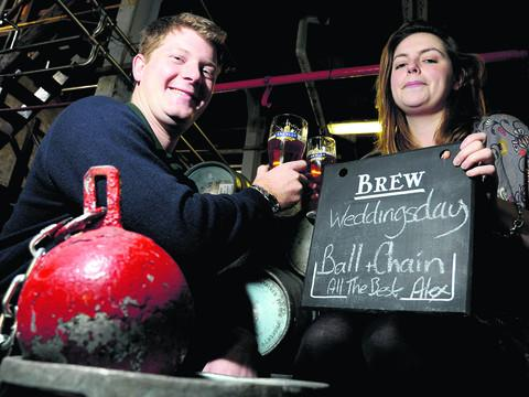 Alex Arkell, from Arkell's brewery, is making a new ale called Ball And Chain to celebrate his marriage to Alice Braithwaite
