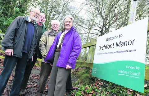 Gareth Slater, David Feather, Lady Fiona Hannon and Nicholas Hunloke, of Wiltshire Gardens Trust, at the entrance to Urchfont Manor
