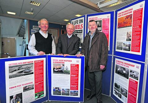 This Is Wiltshire: Mervyn Harris, chairman of the Museum Society, and David Moss, chairman of the Preservation Trust, with the display's designer, David Maude
