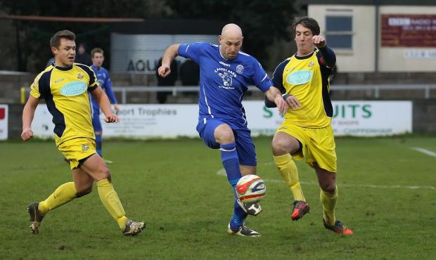 This Is Wiltshire: Chippenham Town striker Alan Griffin in action against Gosport (Picture by Robin Foster)