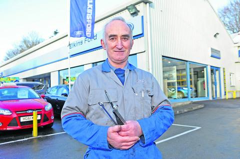 Motor mechanic John Pratten has retired after 42 years with Westbury Leigh garage Elkins Ford