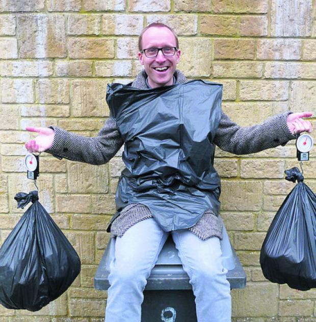 Waste watcher Matt Powell prepares for the slim bin challenge