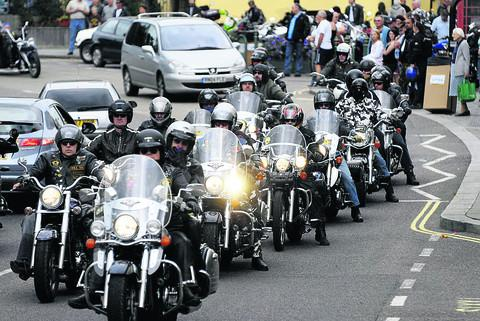 This Is Wiltshire: Harley Davidsons take to the streets of Calne during a previous meet