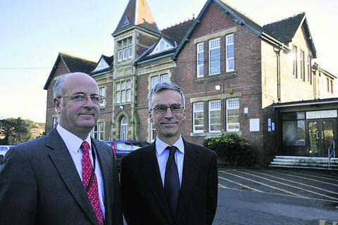 This Is Wiltshire: Andrew Murrison with headteacher Andy Packer, left, during his tour of John of Gaunt