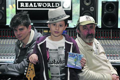 This Is Wiltshire: Kyle Condon at Real World Studios with his record producer, Rob Bozas, right, and recording engineer Oli Jacobs