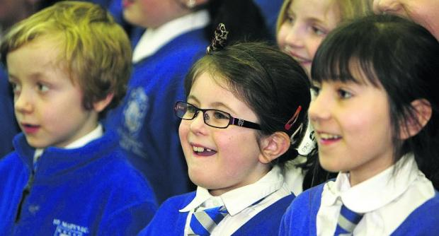 This Is Wiltshire: In fine voice St Mary's Primary school key stage 2 choir practising                    Pictures: Stuart Harrison