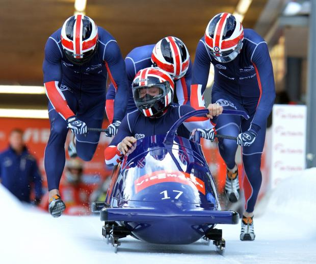 John Jackson and his crew get under way in Igls today