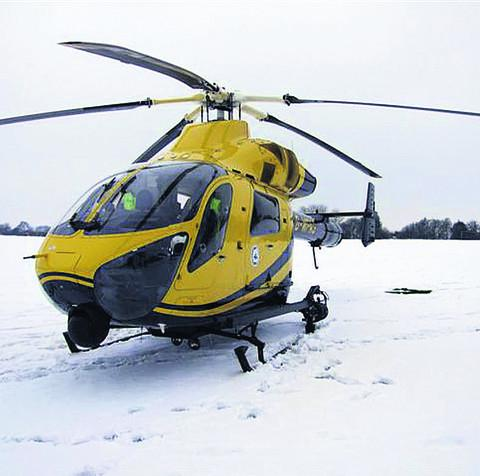 The air ambulance was able to touchdown in the snow on Saturday in a Pewsey field
