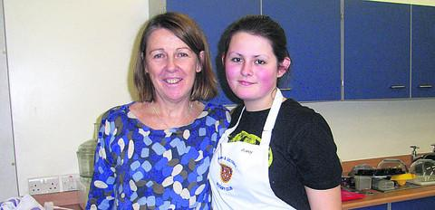 Young winner Amy Huggins with Pewsey Vale food technology teacher Brigid Sparke