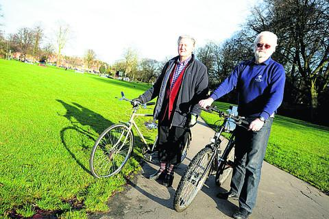 This Is Wiltshire: Coun Jeff Ody with Noel Woolrych on The Green pathway in Devizes. They were opposed to having lights on the footpath for a cyclepath