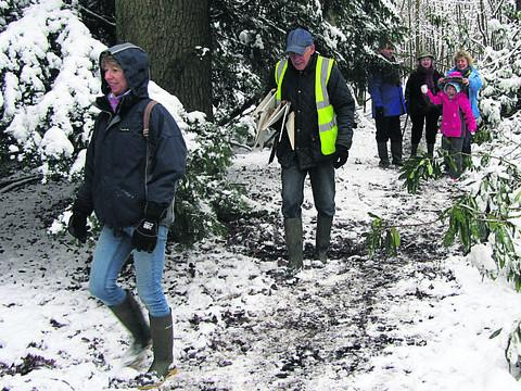 This Is Wiltshire: Walkers enjoy a wintery stroll around the Birds' Marsh area on Sunday