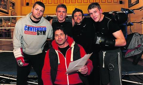 The expanding Contender Gym boxing group of trainer Mark Kent includes (l-r): Luke Martin, Nick Blackwell, Gareth Heard and Dan Blackwell